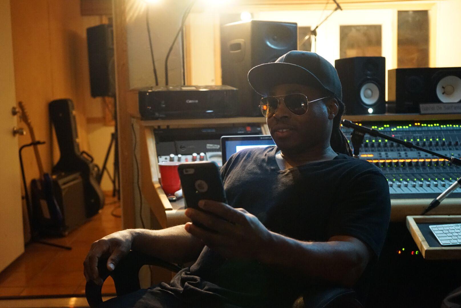 GoldMine The Rapper in   a recording session with the amazing engineer Gabriel De Sant'anna at Recon Recording Studios in Tarzana, CA.