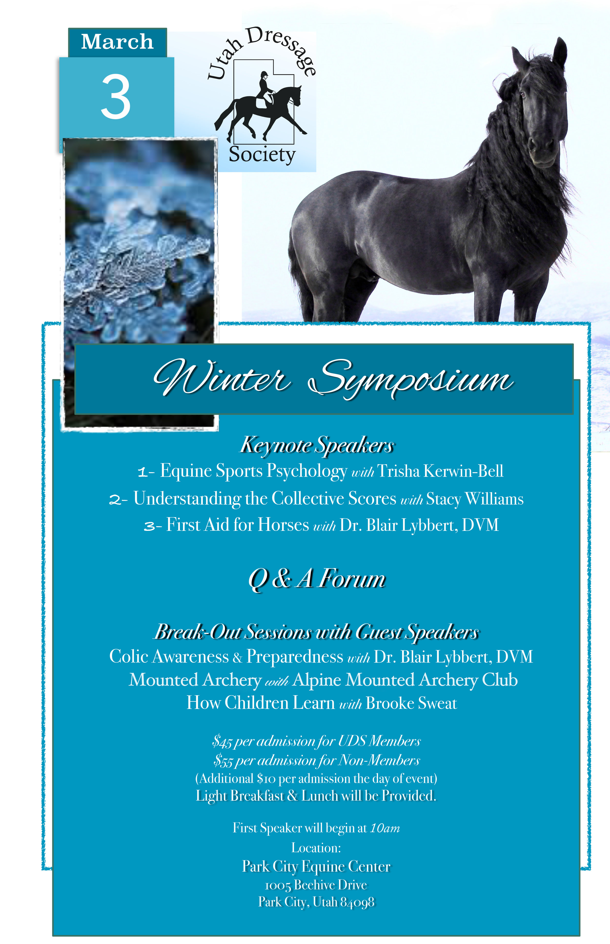 join us! - Saturday,March 3 @ the Park City Equine CenterTopics include equine sports psychology, understanding collective scores, equine first aid, colic awareness & preparedness, mounted archery, and how children learn.Light breakfast and lunch to be provided!UDS Members $45.00 - Non-UDS Members $55.00(at the door add $10 to either price)