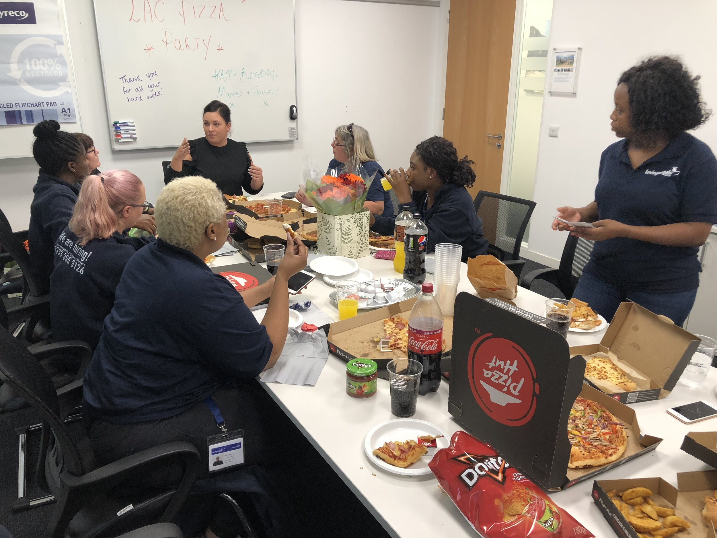 Pizza party with our carers at our old offices at Regus, Brackmills, Northampton