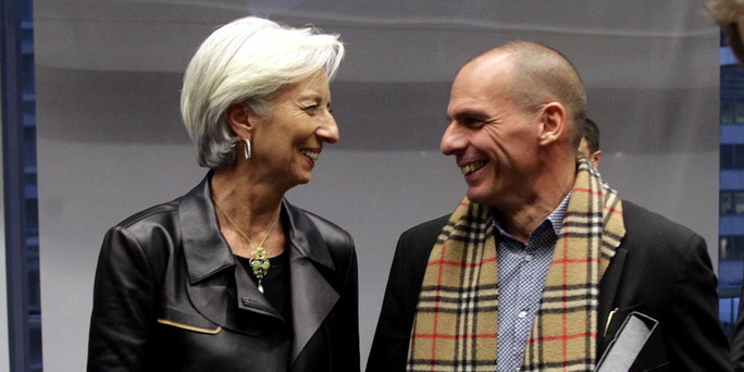 Christine Lagarde and Yanis Varoufakis, 2015. Photo courtesy of www.paginadebanci.ro