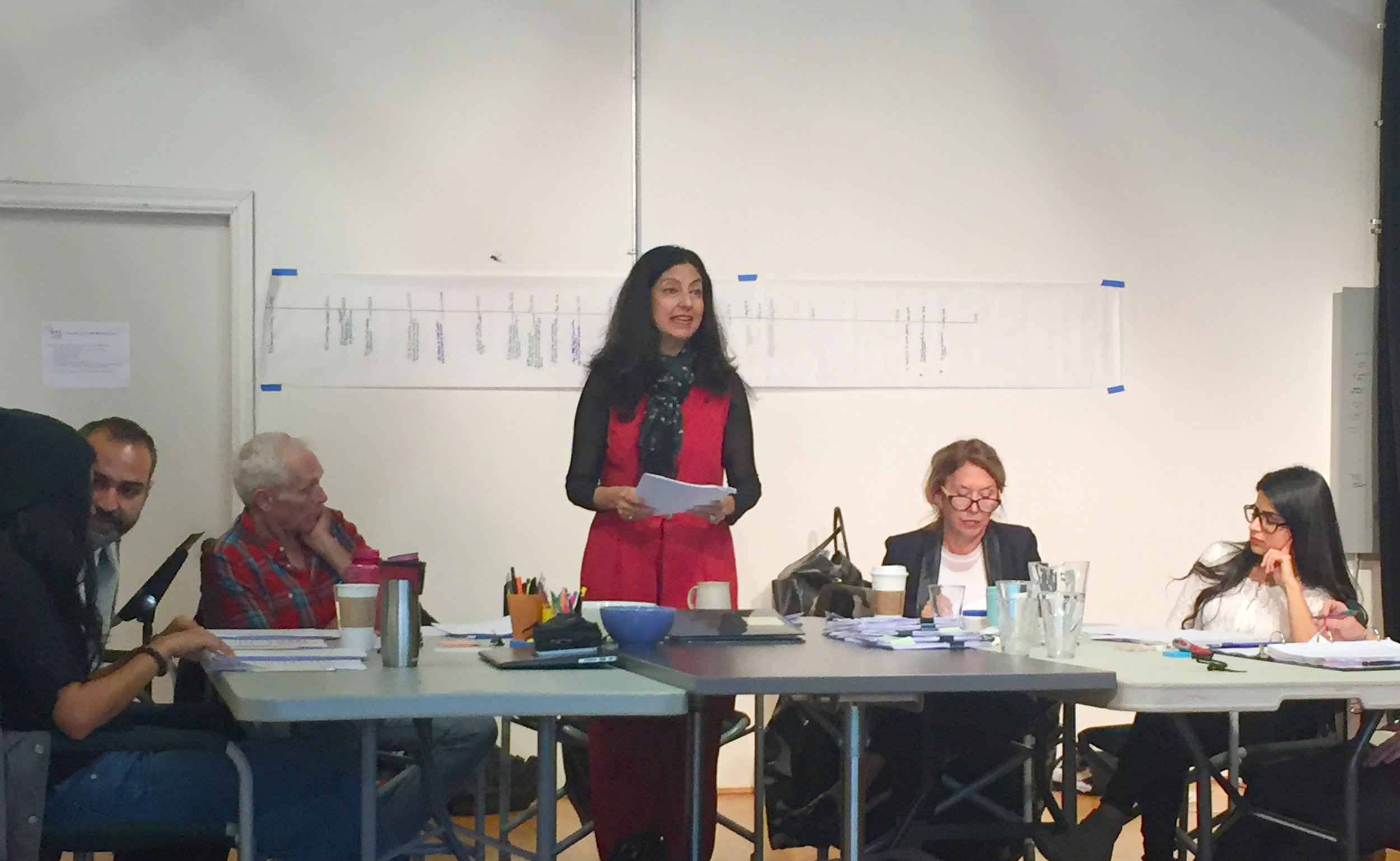 (L to R: Gavan Cheema, Munish Sharma, Allan Morgan, Nimet Kanji, Jennifer Griffin and Risha Nanda,  Victim Impact  reading. Photo: Belinda Bruce)