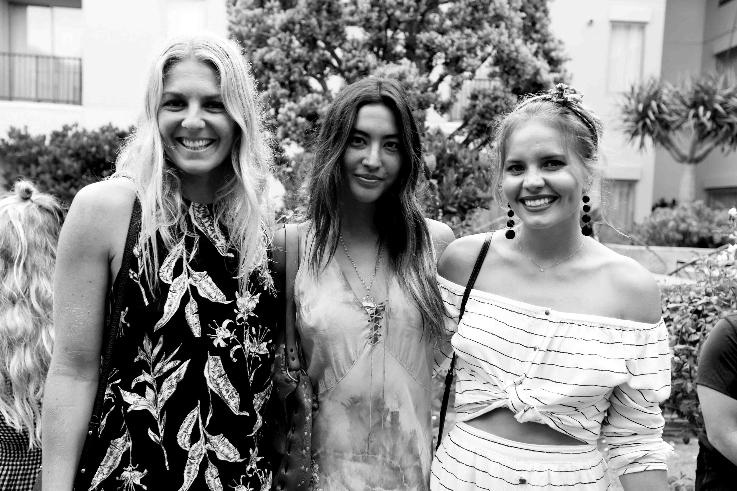 Stephanie Gilmore , Leila Thomas , Bruna Schmitz all together to celebrate the collection. Photo courtesy of Chelsea Caterina