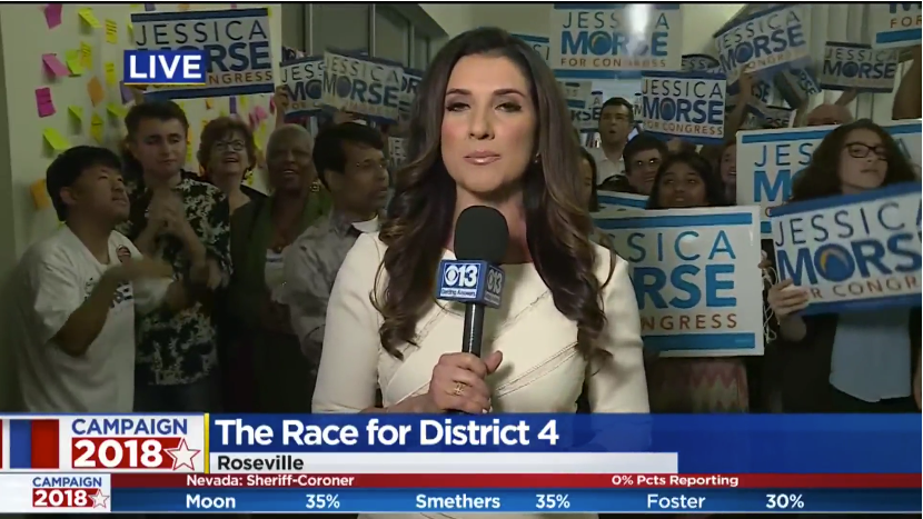 News caster reporting on Jessica Morse's campaign