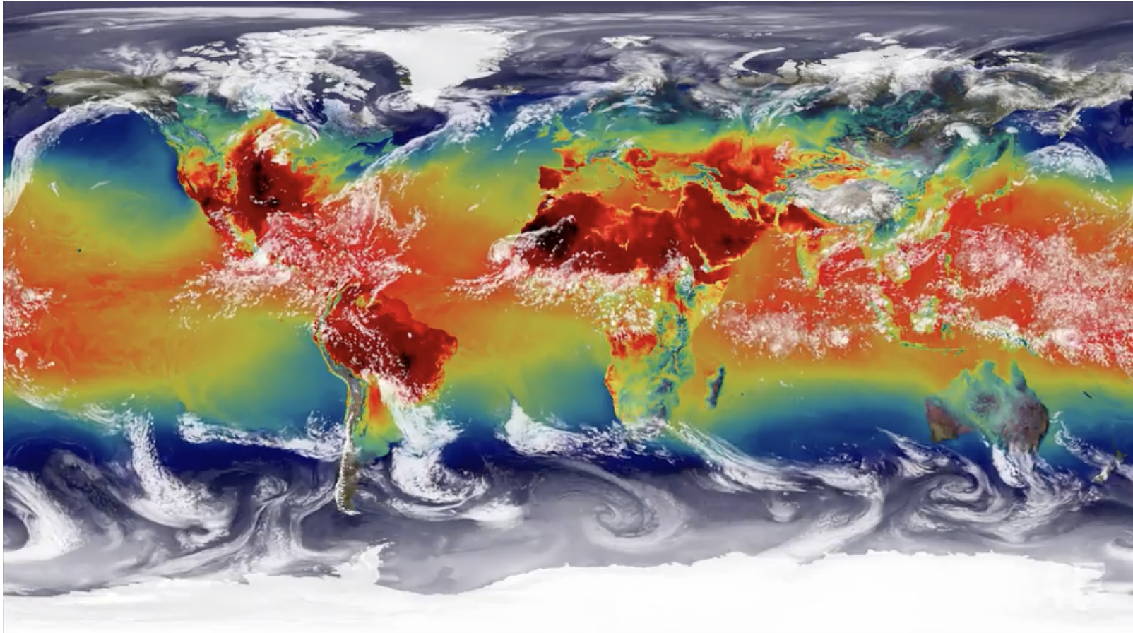 Global Heat Map showing changing temperatures