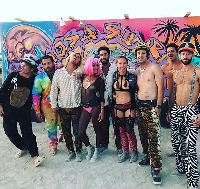 Good times with good friends!  The bounce crew and the mimosa crew brought the party to the playa this year! #thebouncecar #mimosasunrise #party