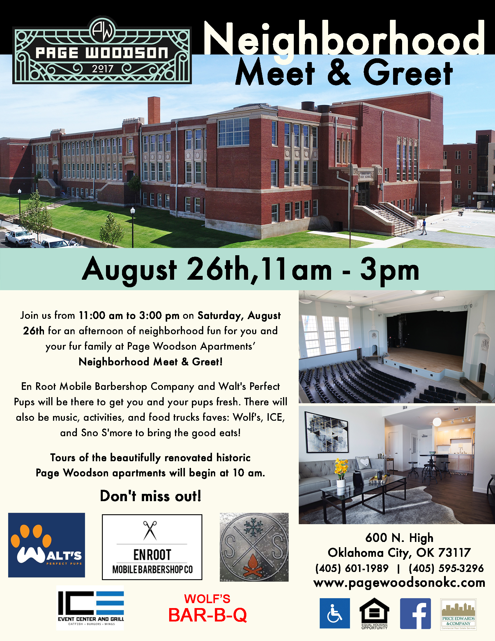 Neighborhood Meet & Greet - August 26th, 2017 - 11 am to 3 pmJoin us from 11:00 am to 3:00 pm on Saturday, August 26th for an afternoon of neighborhood fun for you and your fur family at Page Woodson Apartments' Neighborhood Meet & Greet!Tours of the beautifully renovated historic Page Woodson apartments will begin at 10 am.