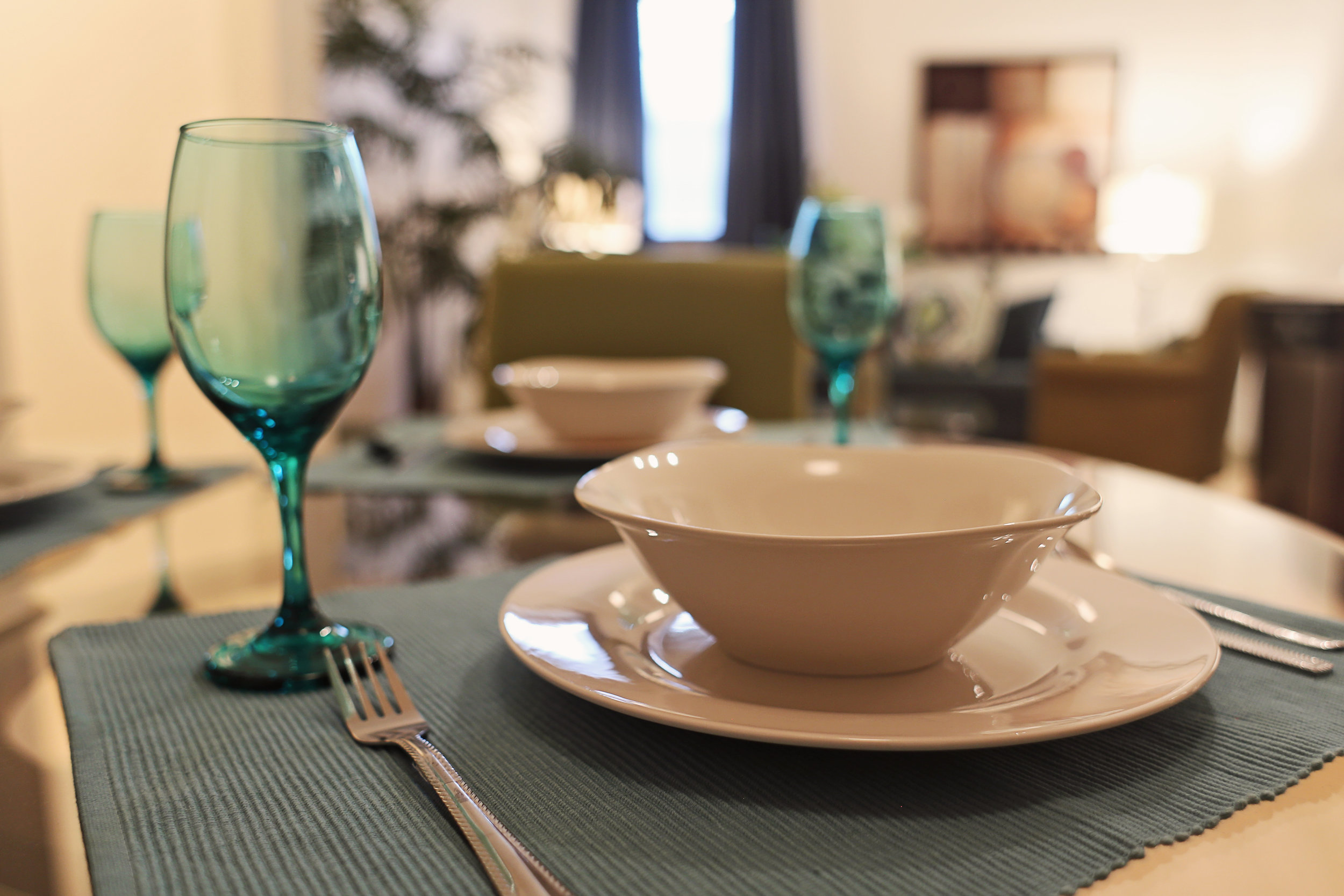 Douglass Model Apartment table setting.jpg