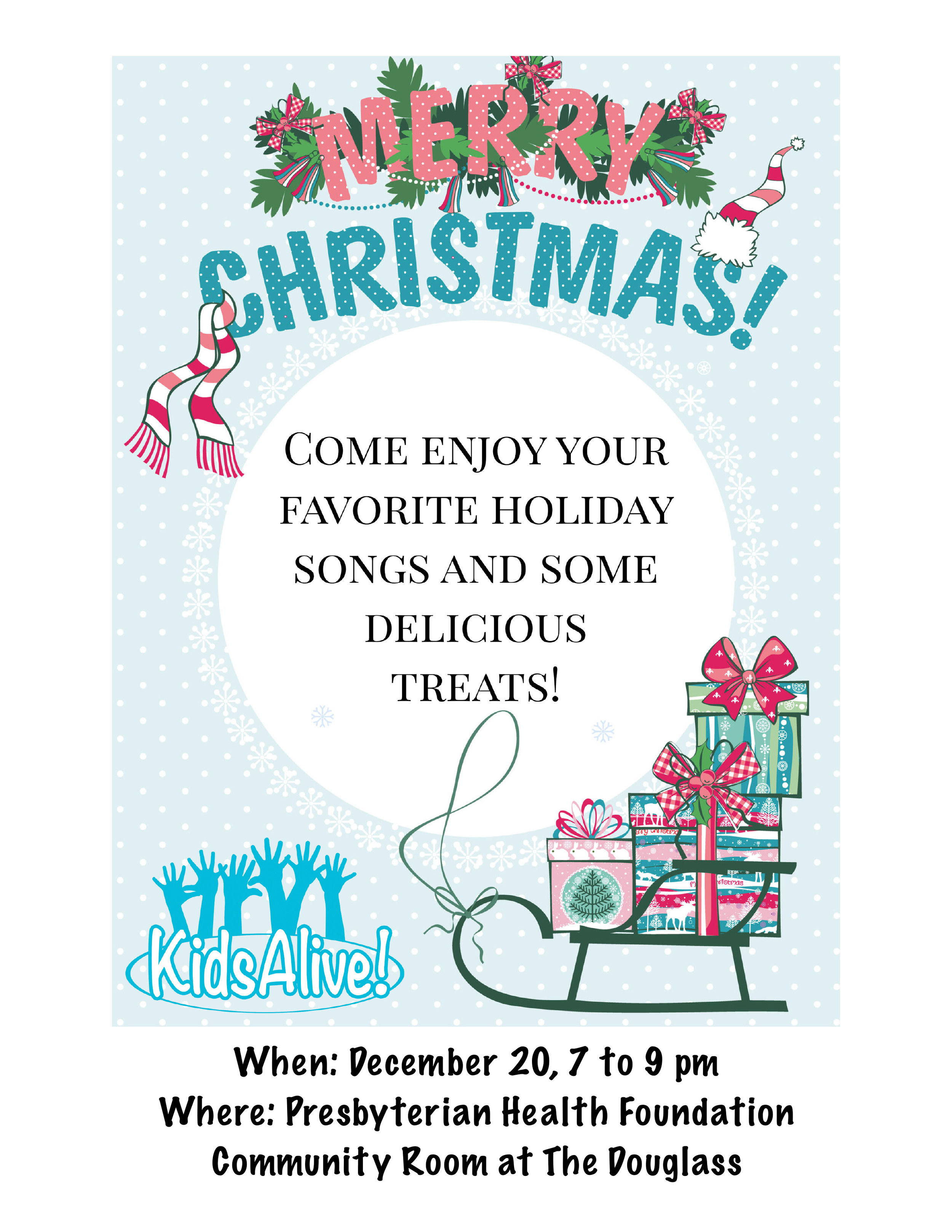 KidsAlive! Christmas Cabaret - Free Admission - Dec. 20th, 7-9 pmKidsAlive! presents their Christmas Cabaret show at the Presbyterian Health Foundation Community Room at The Douglass at Page Woodson! Listen to your favorite holiday music while enjoying delicious treats!