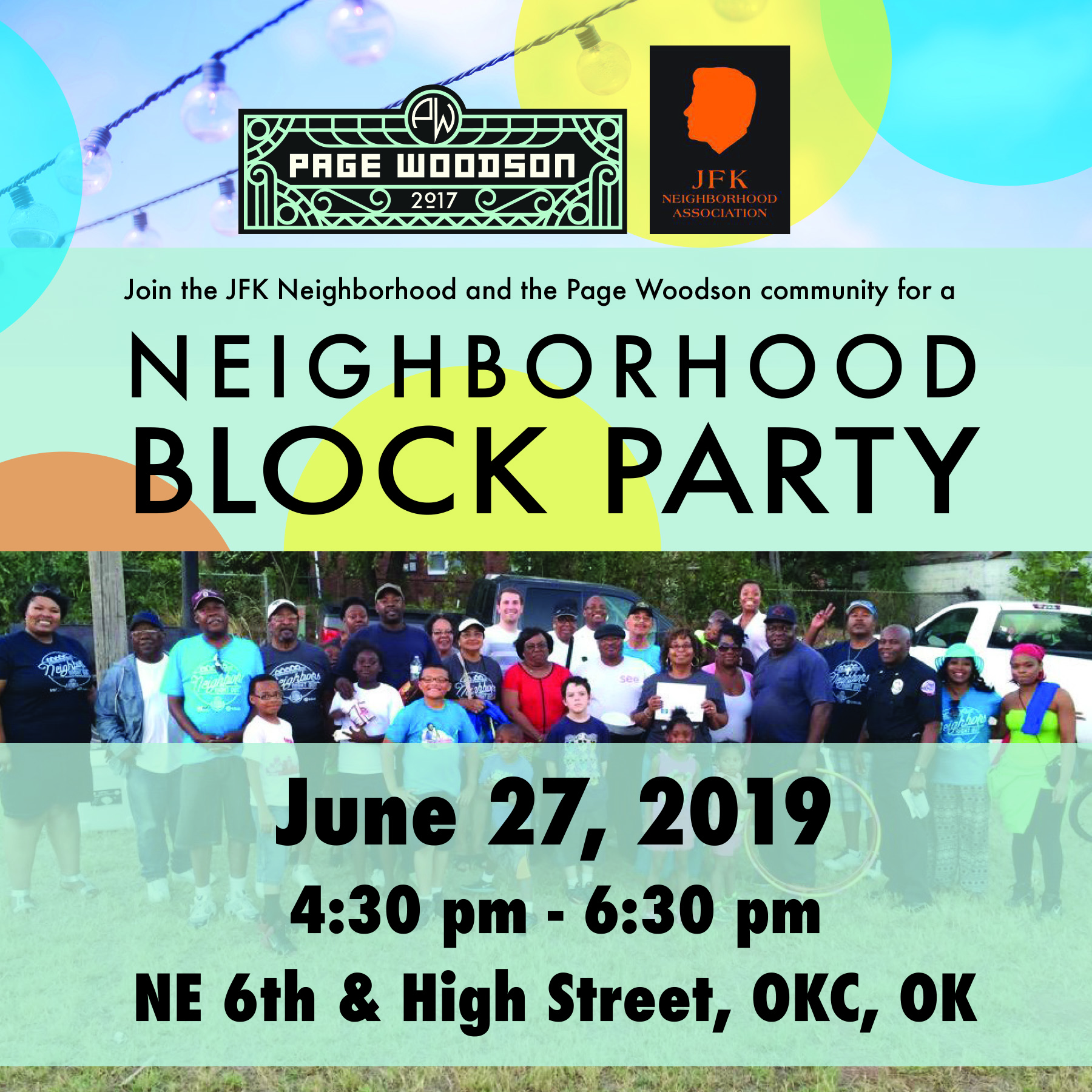 JFK Neighborhood and Page Woodson Block Party - June 27, 2019 - 4:30 pm - 6:30 pm, NE 6th & High St., Oklahoma City, OKJoin the JFK Neighborhood and the Page Woodson community for a Neighborhood Block Party!Come eat, fellowship, and find out what we are doing as a community!Spokies Station • Gardens • Construction Phase III • New Coffee Shop • Restaurants • Bookstore • Transportation • See The Seven Historical ExhibitFor more information, contact Kim at (405) 601-1989or email jfkneighborhood@gmail.com