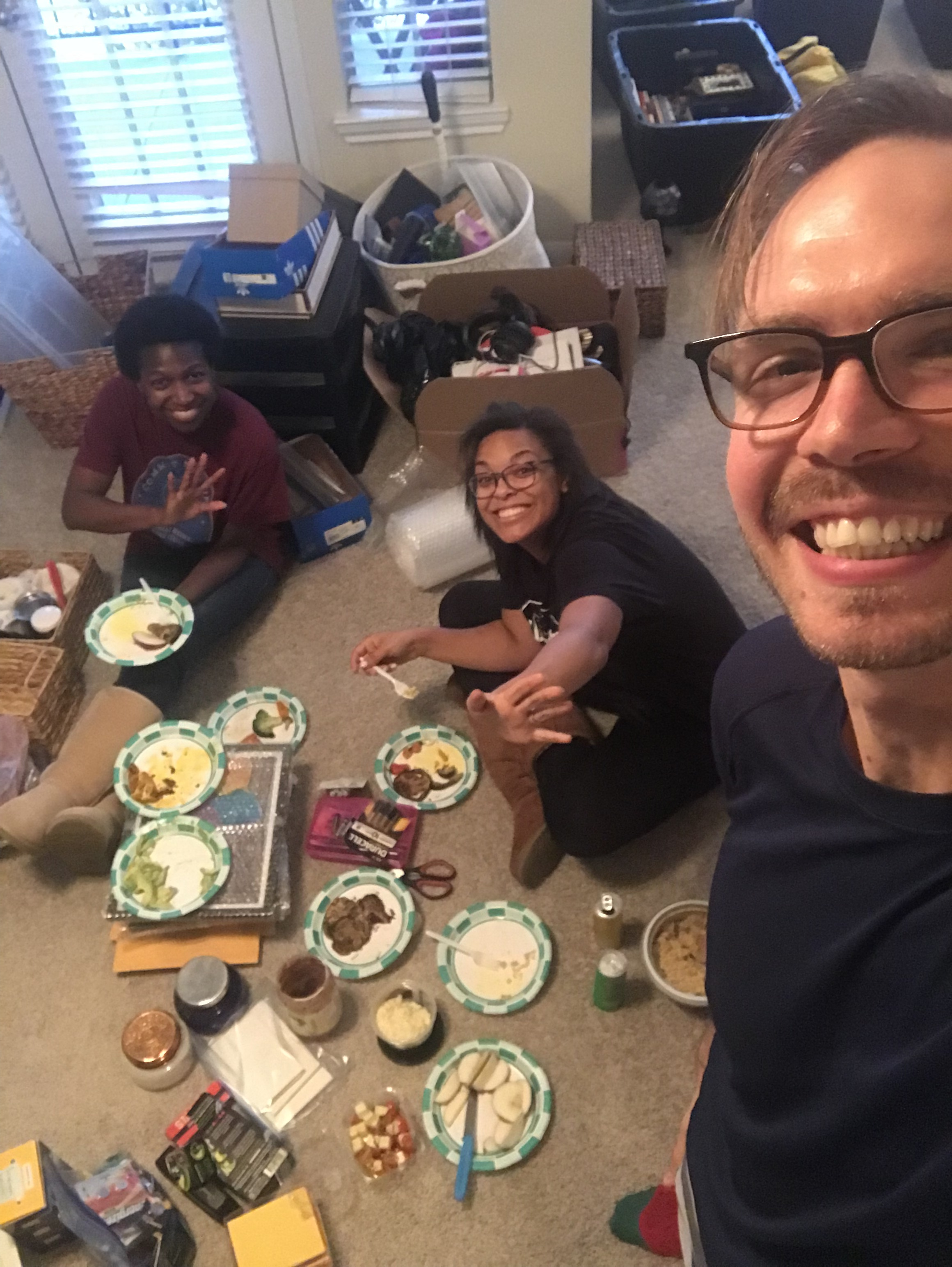 This was our impromptu packing party picnic on the living room floor.