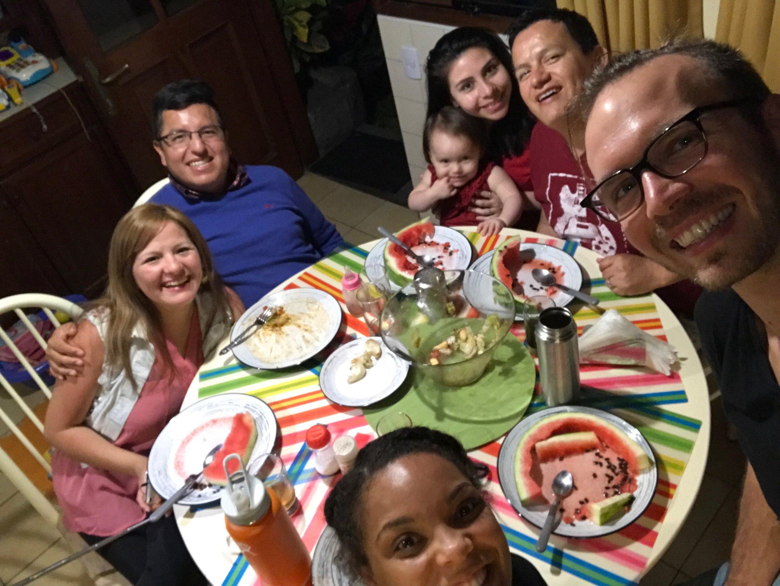 From left: Caroley, her husband Albert, Tamara, Josh, and their baby Charlotte!
