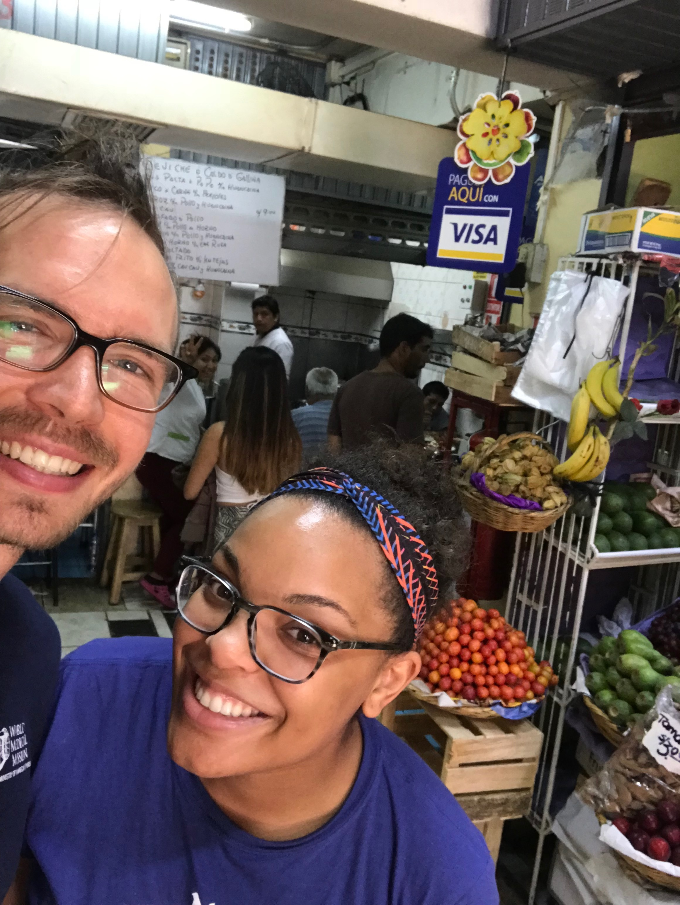 Us at a market in Lima where we had bomb ceviche!