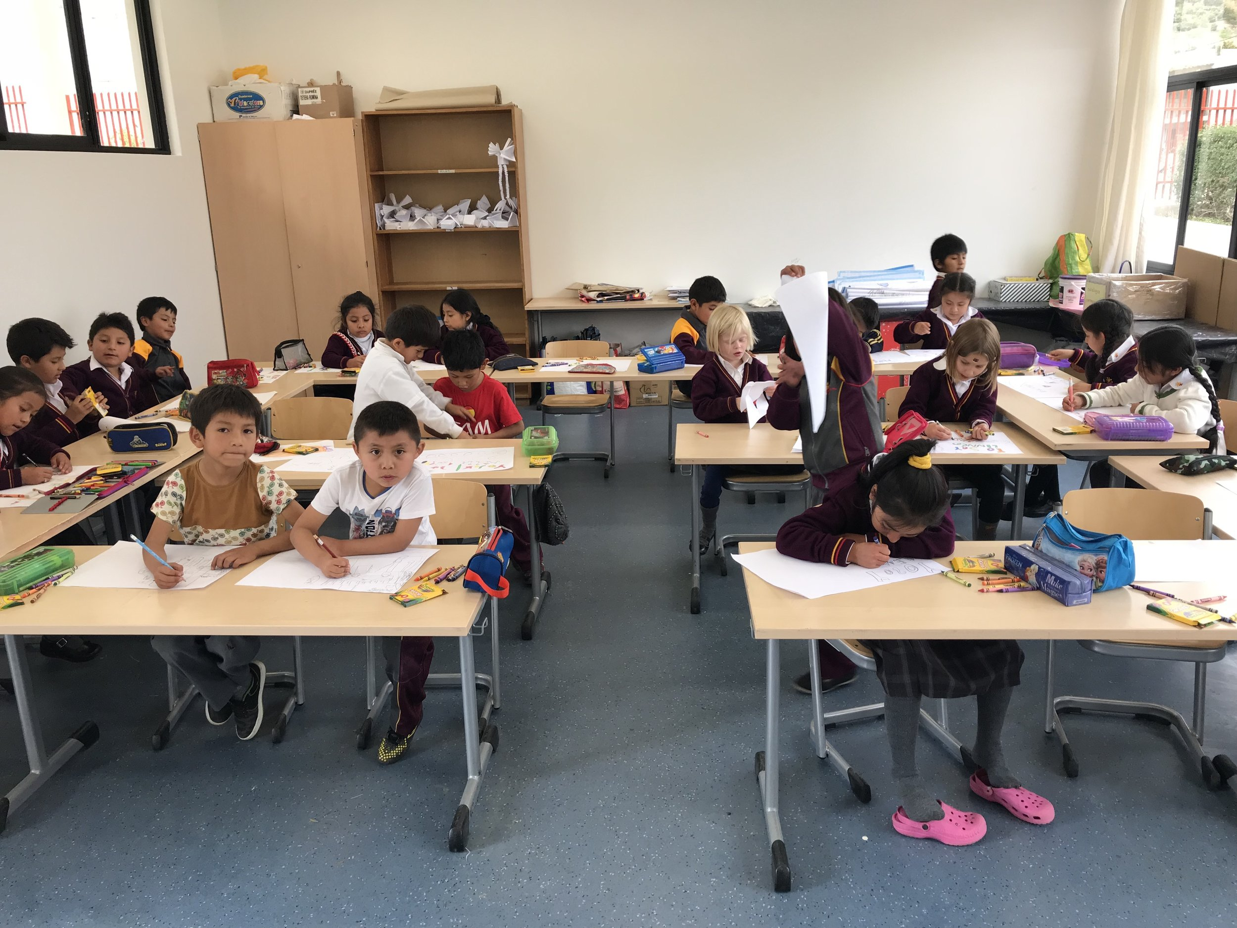 """My first grade class again, working on """"Yo Soy"""" Project (I AM Project)."""