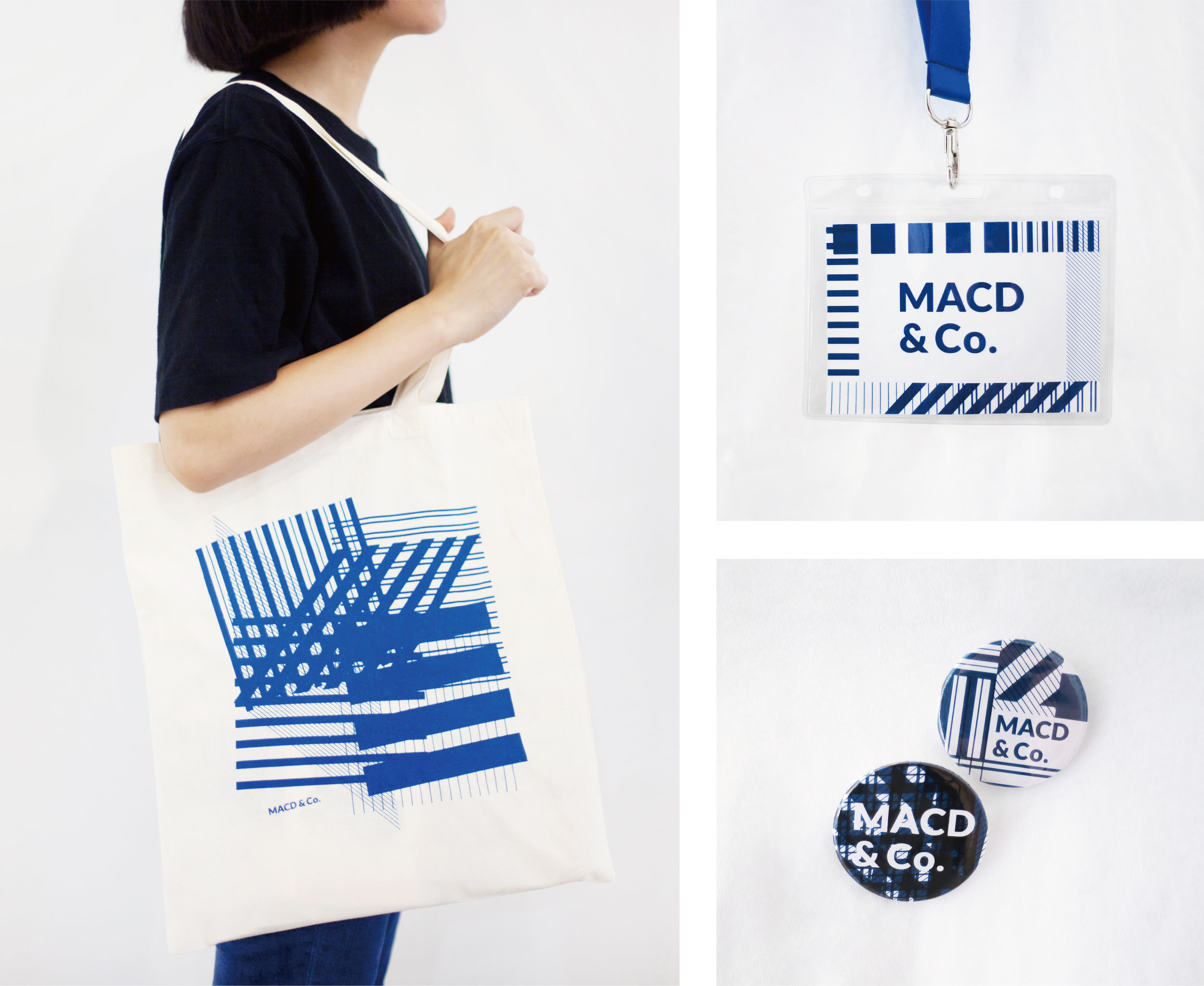 left: Tote bag, right top: staff pass, right bottom: badges designed by  Prin Tanapaisankit