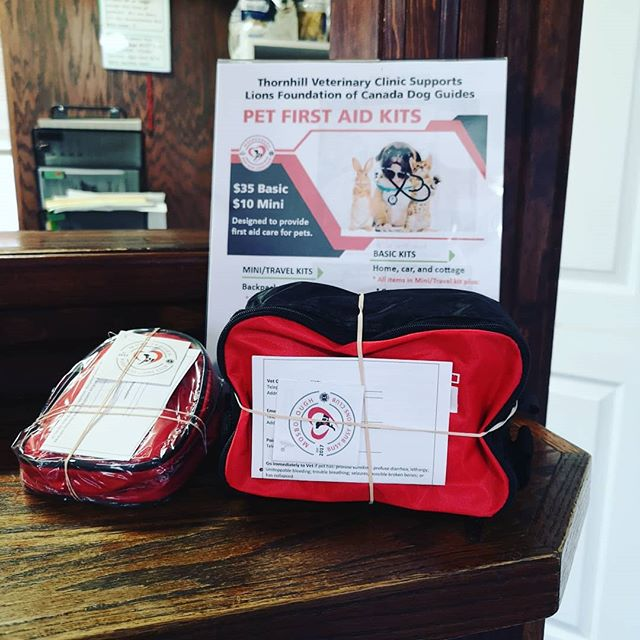 Pet first aid kits now available here! All proceeds go toward the Lions Foundation of Canada Dog Guides!  #lionsfoundation #thornhill #dogguides #thornhillvetclinic