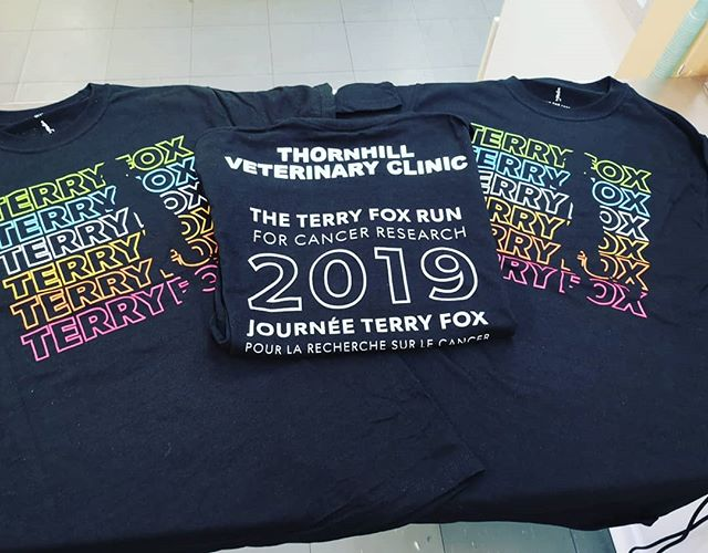We are so excited to get our t-shirts in the mail and support a great cause!  Support our clinic team by donating online @ www.tereyfoxrun.ca/Thornhill . . #terryfoxrun #community #thornhillvetclinic #thornhill #vetclinic #terryfoxfoundation