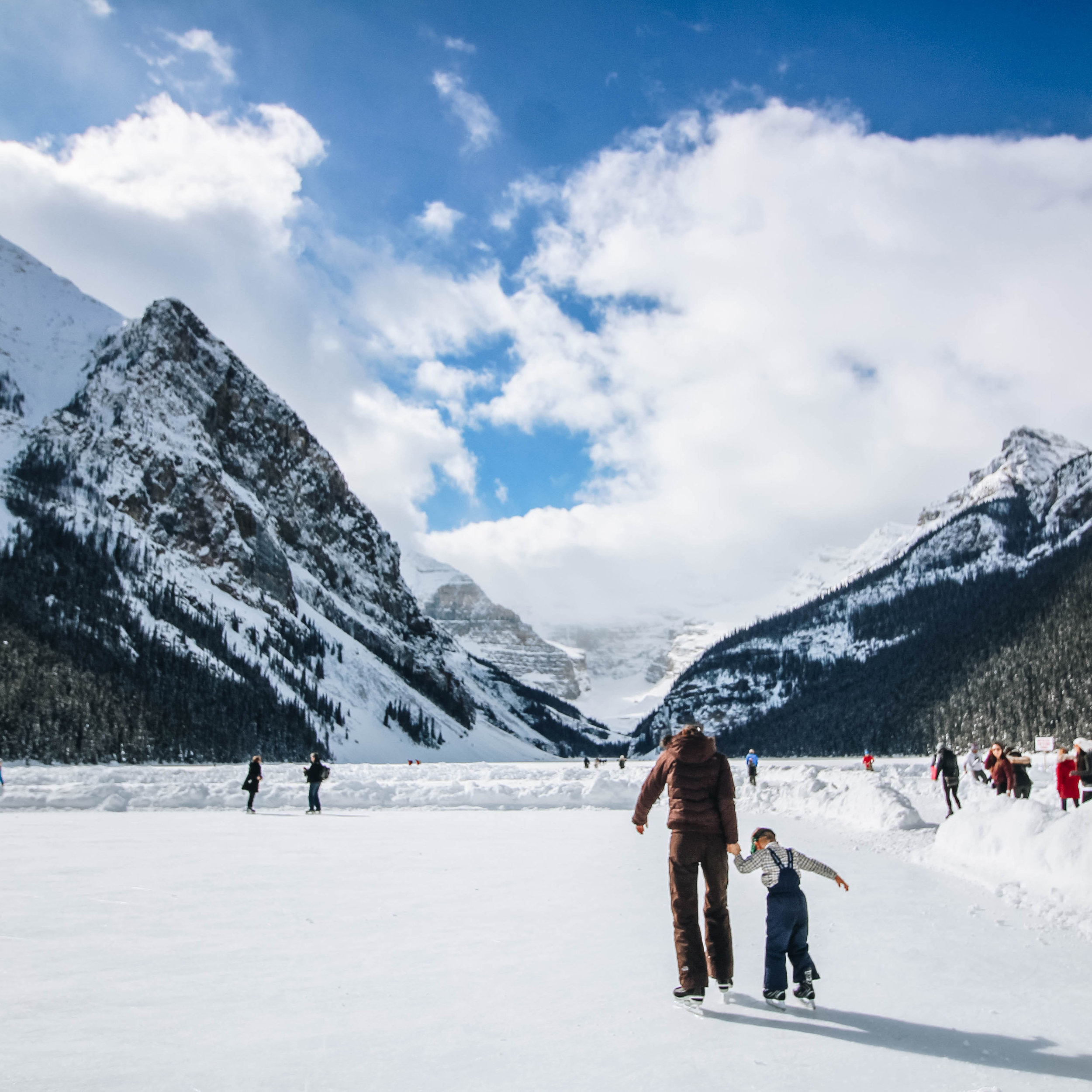 Skating on Lake Louise in Winter