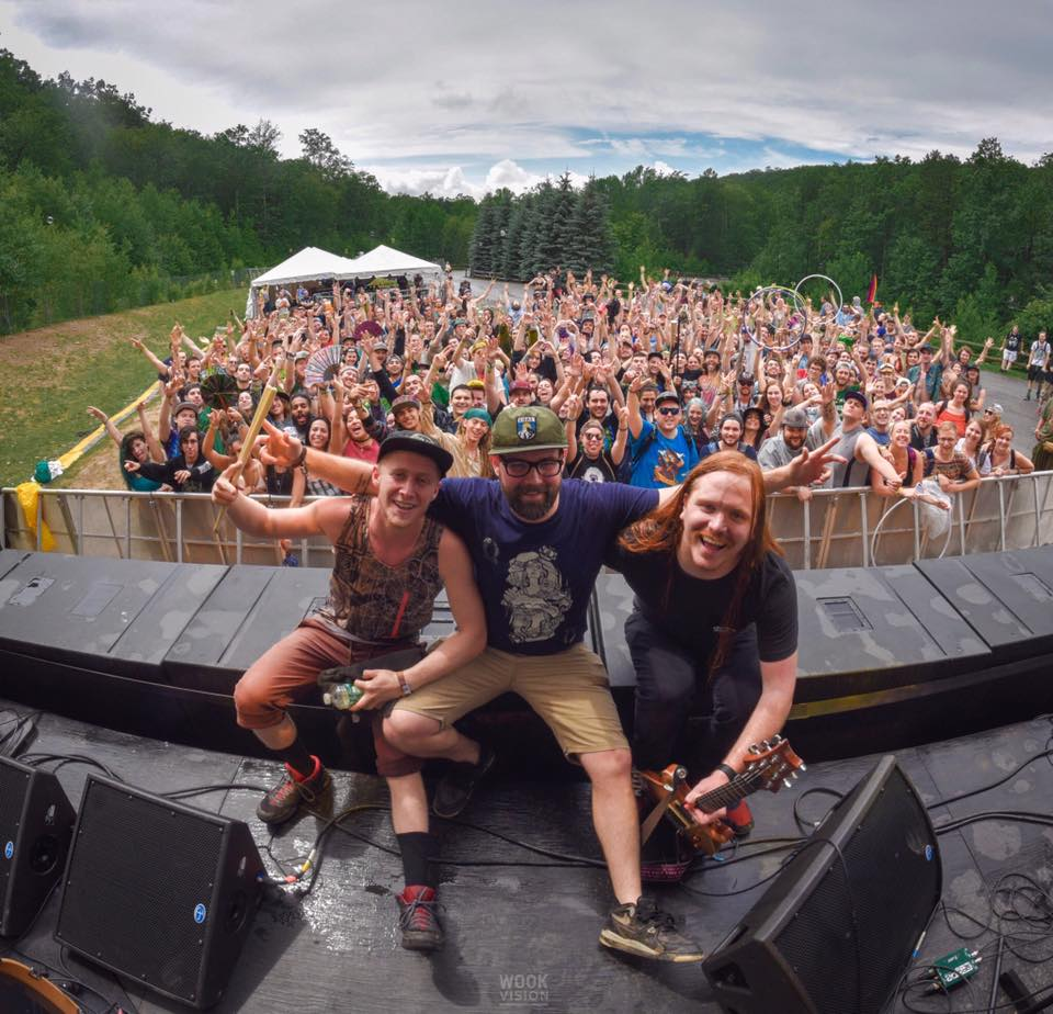 (From left to right) Aaron, Connor and Keith at Camp Bisco 2017 where Wax Future debuted with a live drummer ( Photo:     Wook of Wall Street   ).