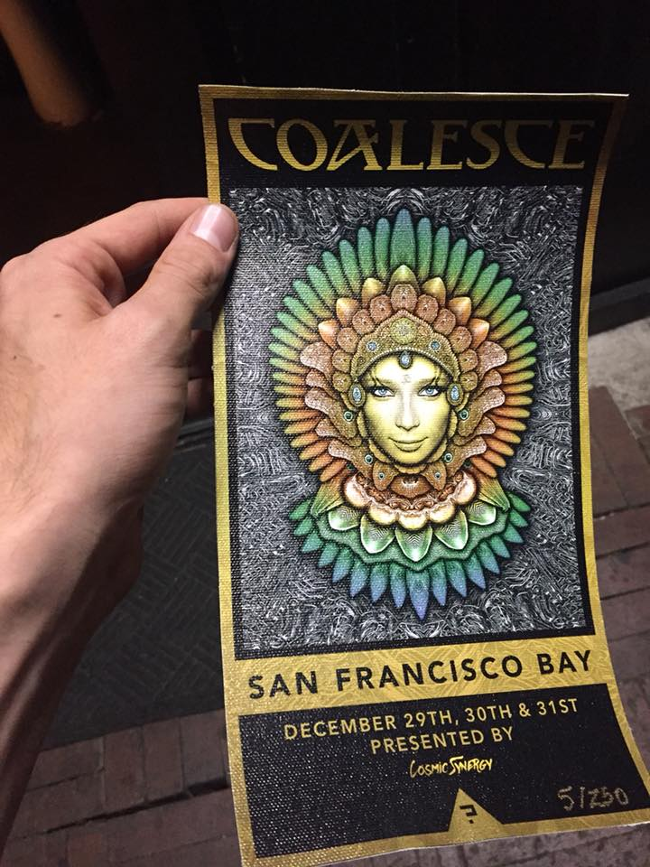 Cosmic Synergy teased the announcement of Coalesce through covert, clever marketing. These high-quality, collectible flyers were first distributed at  A Benefit Show for Sibel Yalin  at the Black Box in Denver in mid-September.