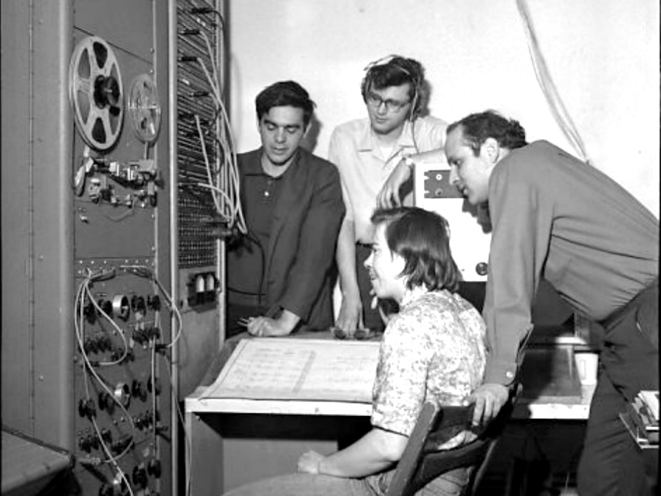 Ramon Sender, Mike Callahan, Morton Subotnick, and Pauline Oliveros, the founders of the San Francisco Tape Music Center. ( Credit:    Art Fisch   )