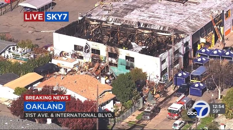 The Ghost Ship warehouse space from above on the morning of December 3, 2016, after a fire broke out which would claim 36 lives at an unpermitted party.