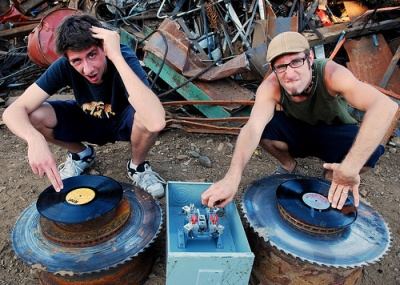 The Stickypod Connection featuring a short-haired Stickybuds (left) and Jason (right) in the mid-2000s.
