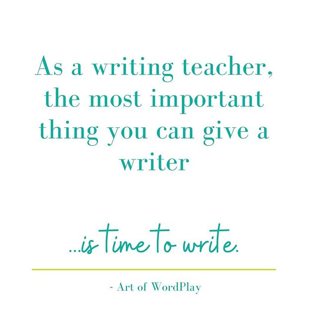 The MOST important thing we can give student writers is... TIME TO WRITE.  This is even more critical than the mini-lesson, the practice worksheet and the grammar lesson combined.  Unpopular opinion? Maybe. But, here's why.  If students begin to immerse themselves in writing, THEN you have a source from which to teach. You have writing you can refer writers back to after the mini-lesson.  Writers have something to which  they can apply their new learning.  If there's not enough time for anything else, make time for students to write. It may not look like the most valuable use of learning time, but it is.