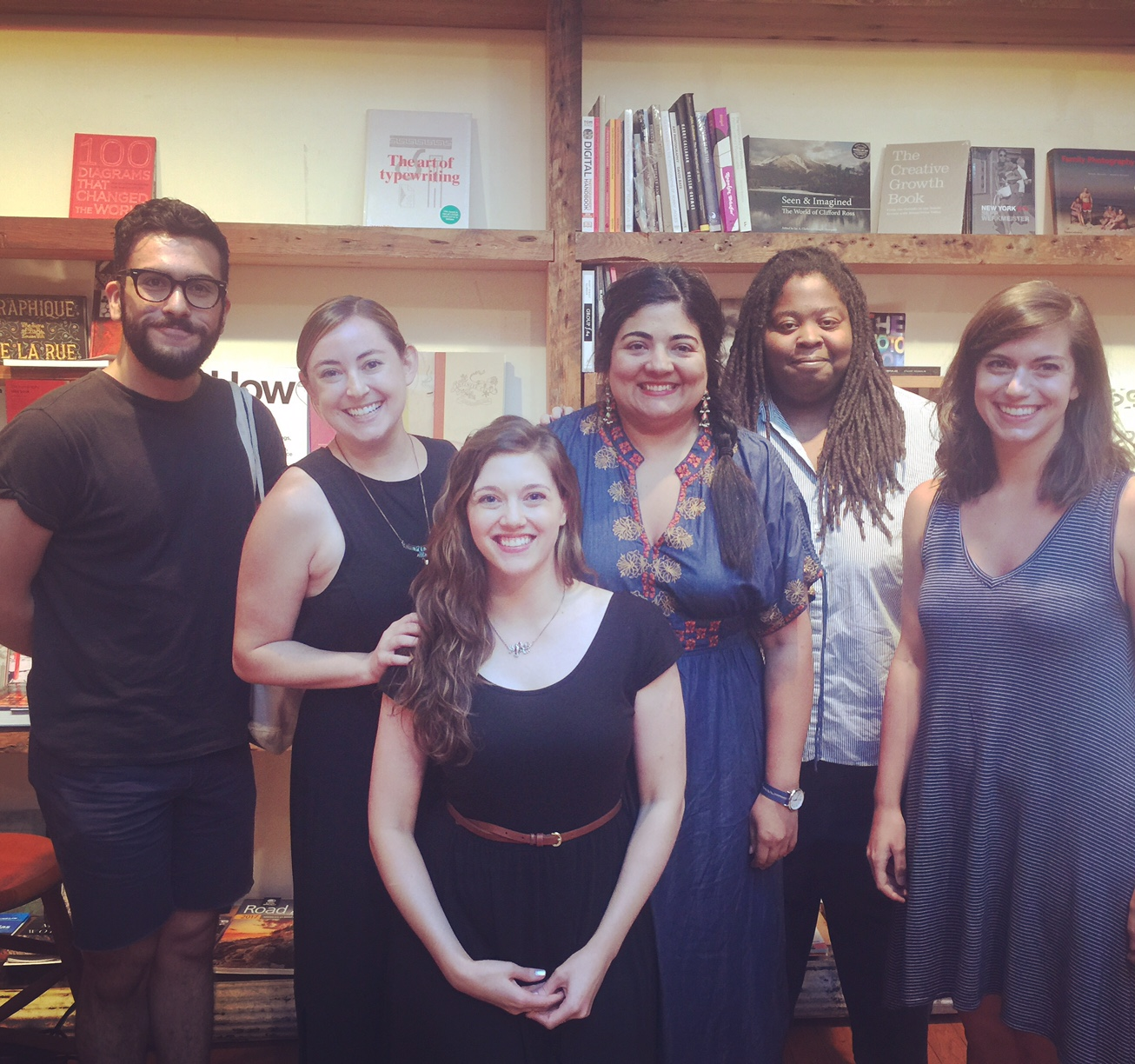 From L to R: Francisco Marquez, Leigh Stein, Alisson Wood, Swati Khurana, Sasha Smith, & Ashley Lopez. At BookCourt, August 28th, 2016