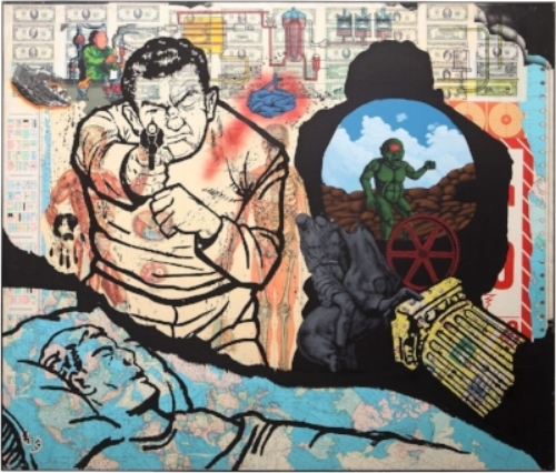 David Wojnarowicz (1954–1992), History Keeps Me Awake at Night (For Rilo Chmielorz), 1986. Acrylic, spray paint, and collaged paper on composition board, 72 x 84 in. (170.2 x 200 cm). Collection of John P. Axelrod. Photograph by Ron Cowie