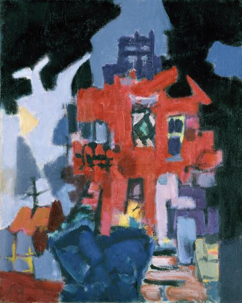 Jacob Kainen, House with Black Sky, 1949, oil on canvas, Smithsonian American Art Museum, Gift of Mrs. Betty B. Ross, 1979.81.