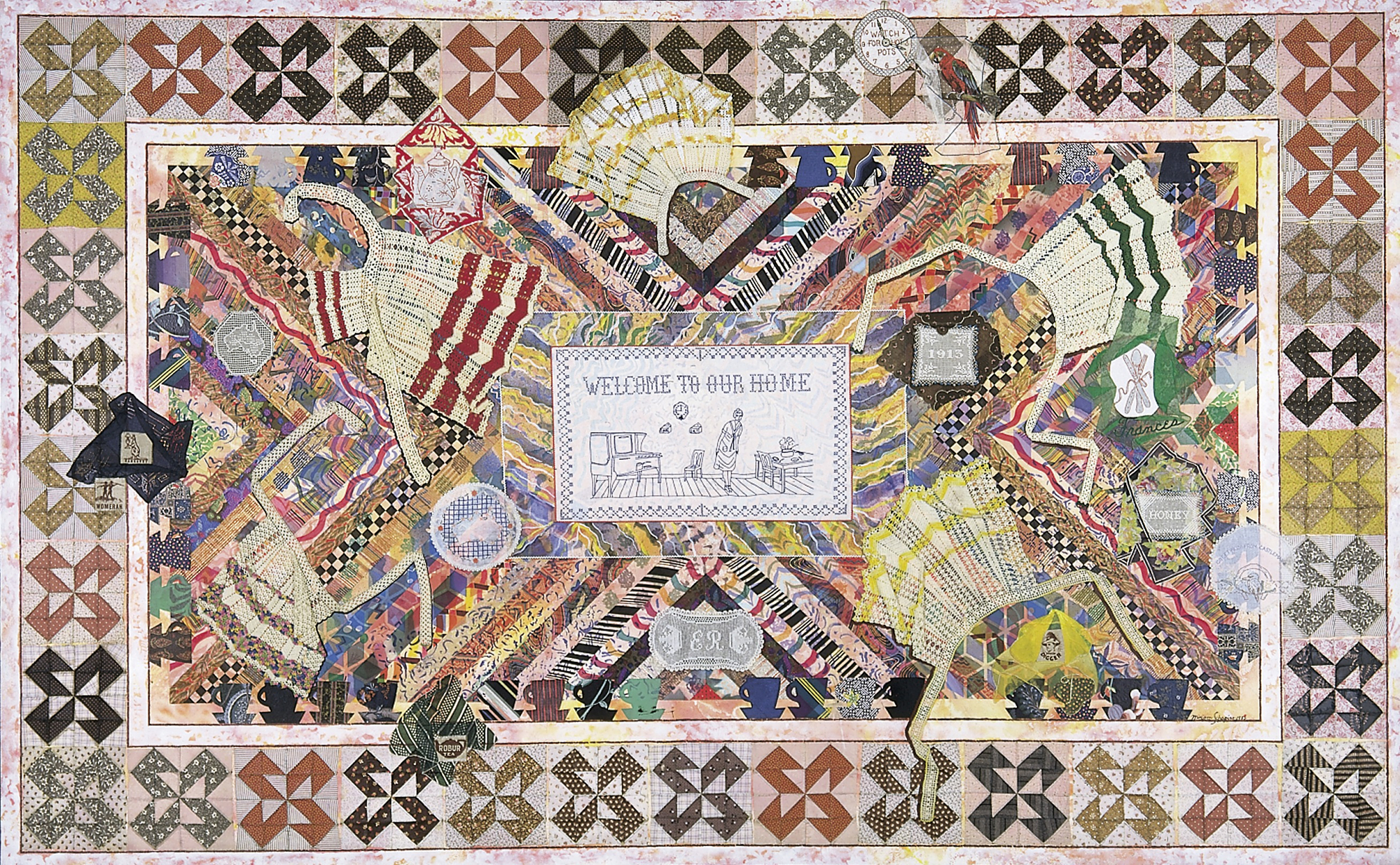 Miriam Schapiro, Wonderland, 1983, acrylic, fabric and plastic beads on canvas, Smithsonian American Art Museum, Gift of an anonymous donor, 1996.88