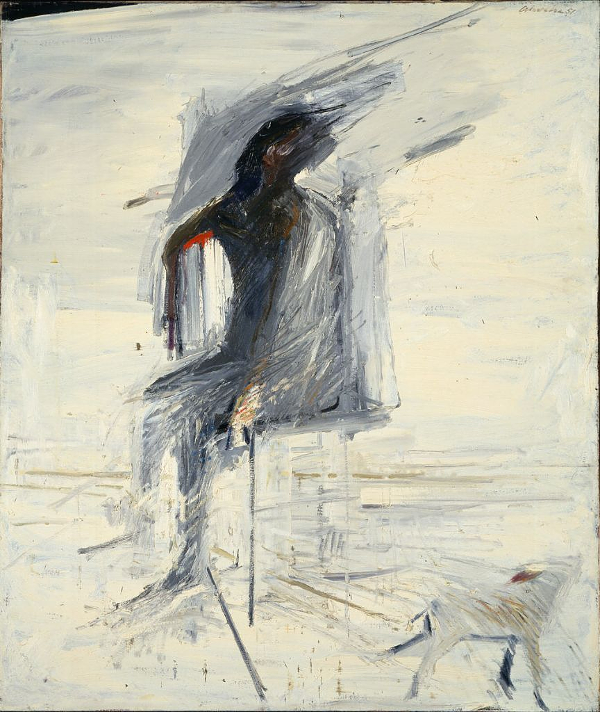 Nathan Oliveira, Seated Man with Dog. Oil on canvas,1957. Hirshhorn Museum and Sculpture Garden, Smithsonian Institution, Washington, DC, Gift of Joseph H. Hirshhorn, 1966