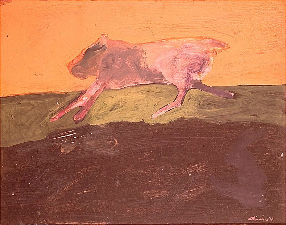 Nathan Oliveira, Running Dog. Gouache on paper mounted on fiberboard.1961. Hirshhorn Museum and Sculpture Garden, Smithsonian Institution, Washington, DC, Gift of Joseph H. Hirshhorn, 1966.