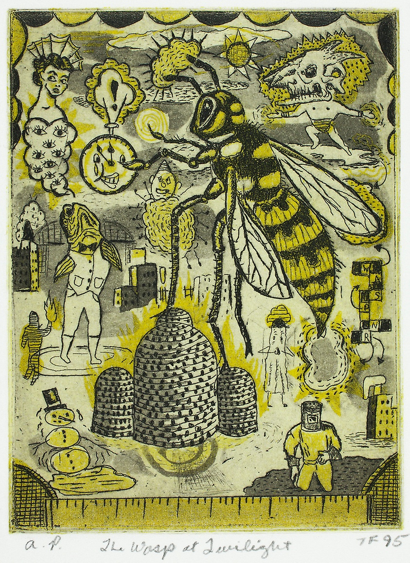 The Wasp at Twilight, 1995. Color etching and aquatint on cream wove paper, laid down on white wove paper (chine collé)