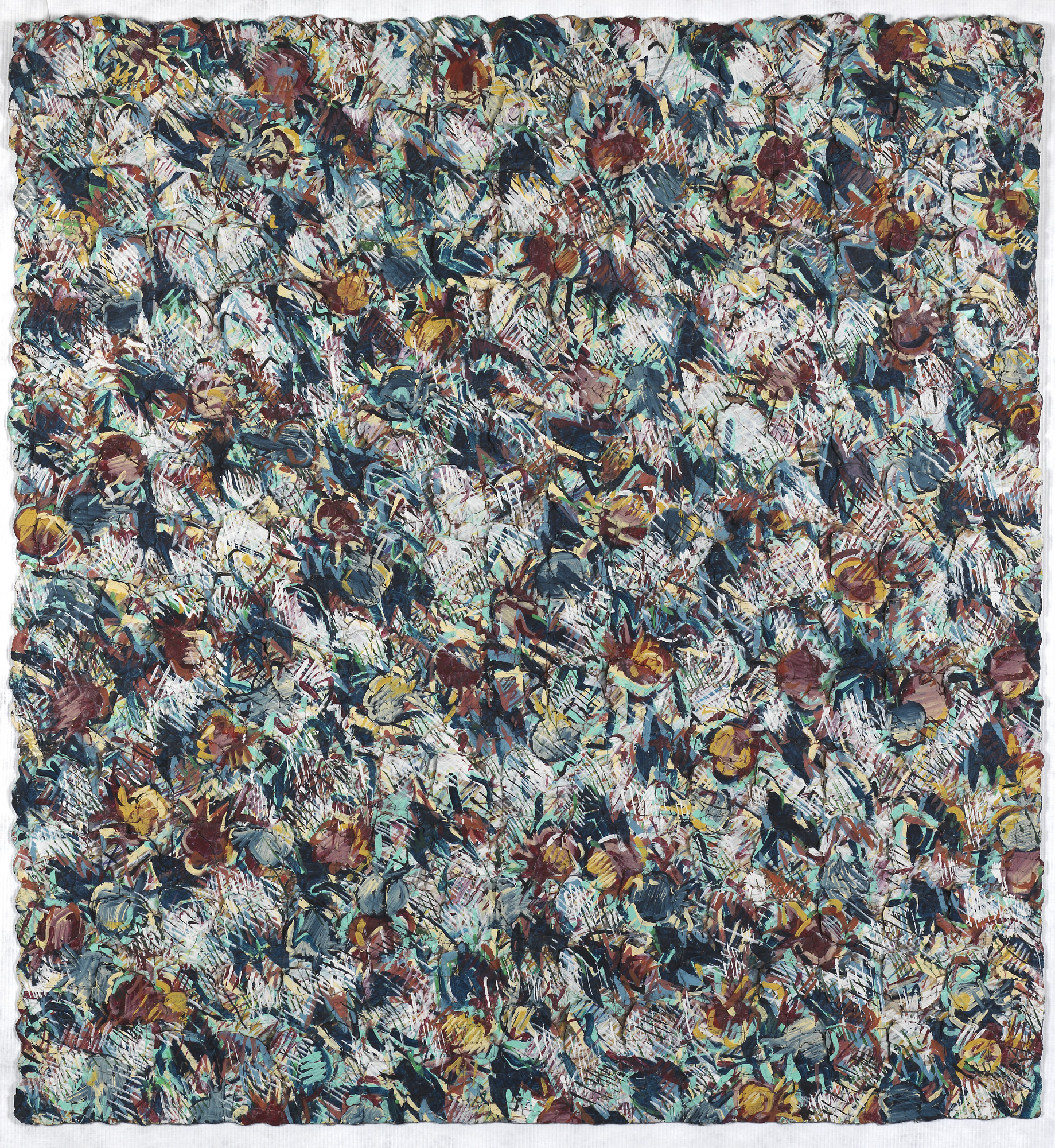 Neda Alhilali, Granadias, 1984, dyed, pressed, plaited, and painted paper on canvas, Smithsonian American Art Museum, Gift of Bernard and Sherley Koteen, 2001