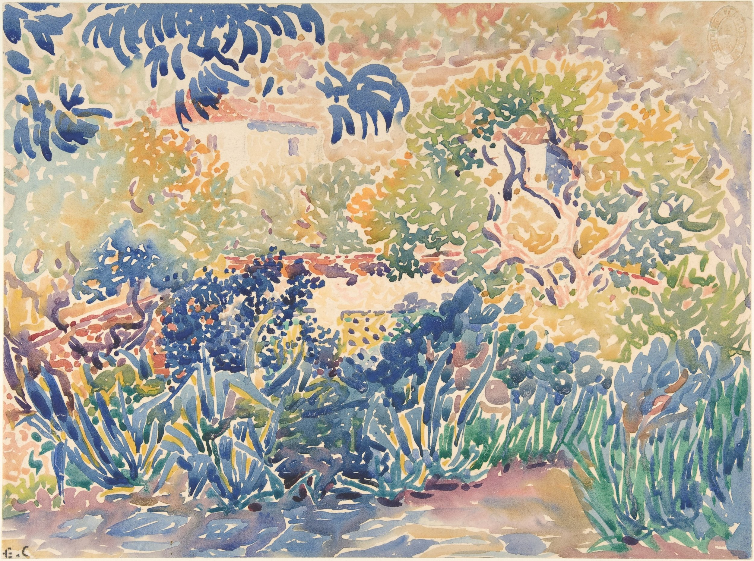 Henri Edmond Cross, The Artist's Garden at Saint-Clair,1904–5. Watercolor. Harris Brisbane Dick Fund, 1948.