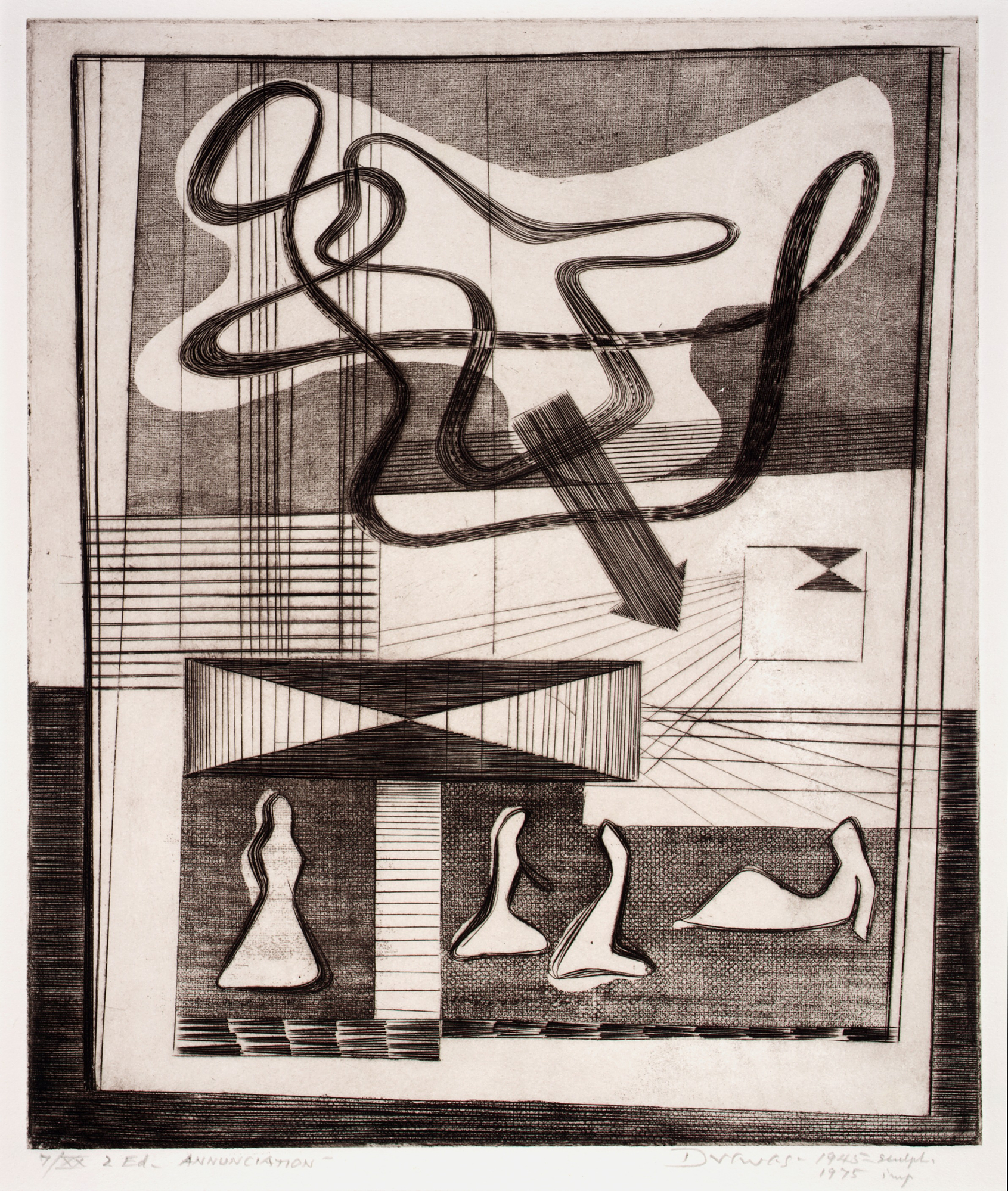 Werner Drewes, Annunciation, 1944, printed 1975, engraving and softground etching on paper, Smithsonian American Art Museum, Gift of the artist, 1976.74.17