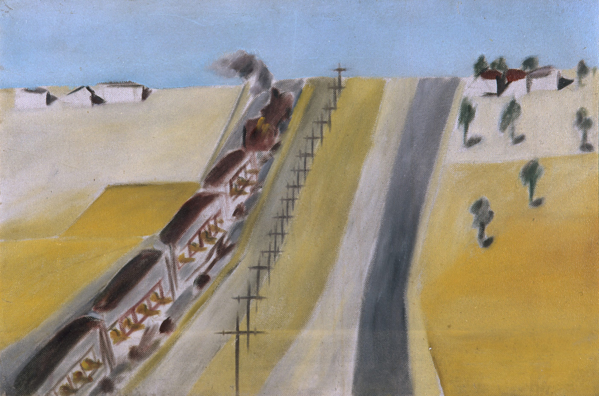 Sidney Nolan  Wimmera Landscape (Landscape with Train)  1943 Ripolin enamel on composition board 61 x 91 cm Heide Museum of Modern Art, Melbourne Purchased from John and Sunday Reed 1980 © Sidney Nolan TrusT