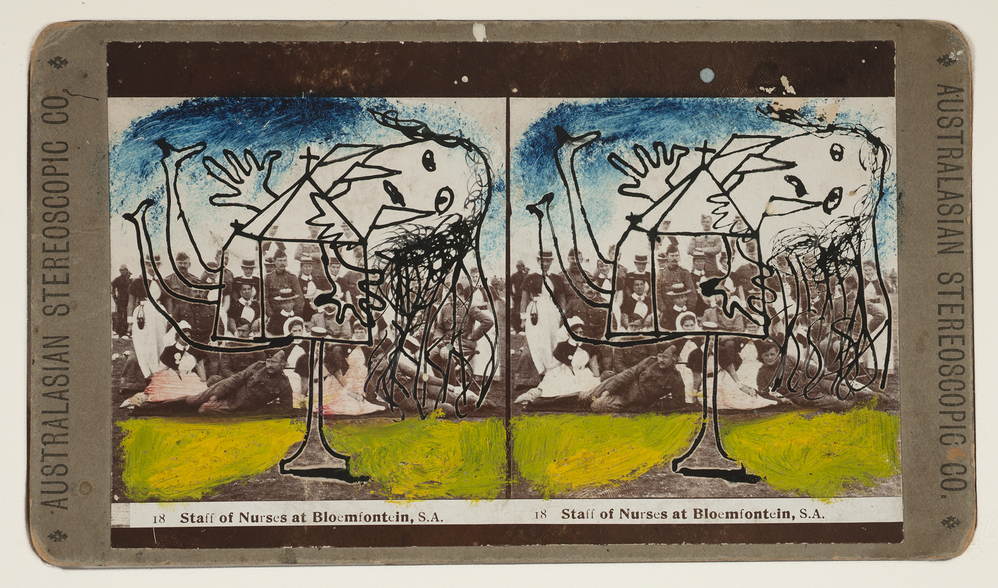 Sidney Nolan  Staff of Nurses at Bloemfontein, S.A.  c.1942 oil and ink on stereograph 10 x 17.5 cm Heide Museum of Modern Art, Melbourne Bequest of John and Sunday Reed 1982 © Sidney Nolan Trust