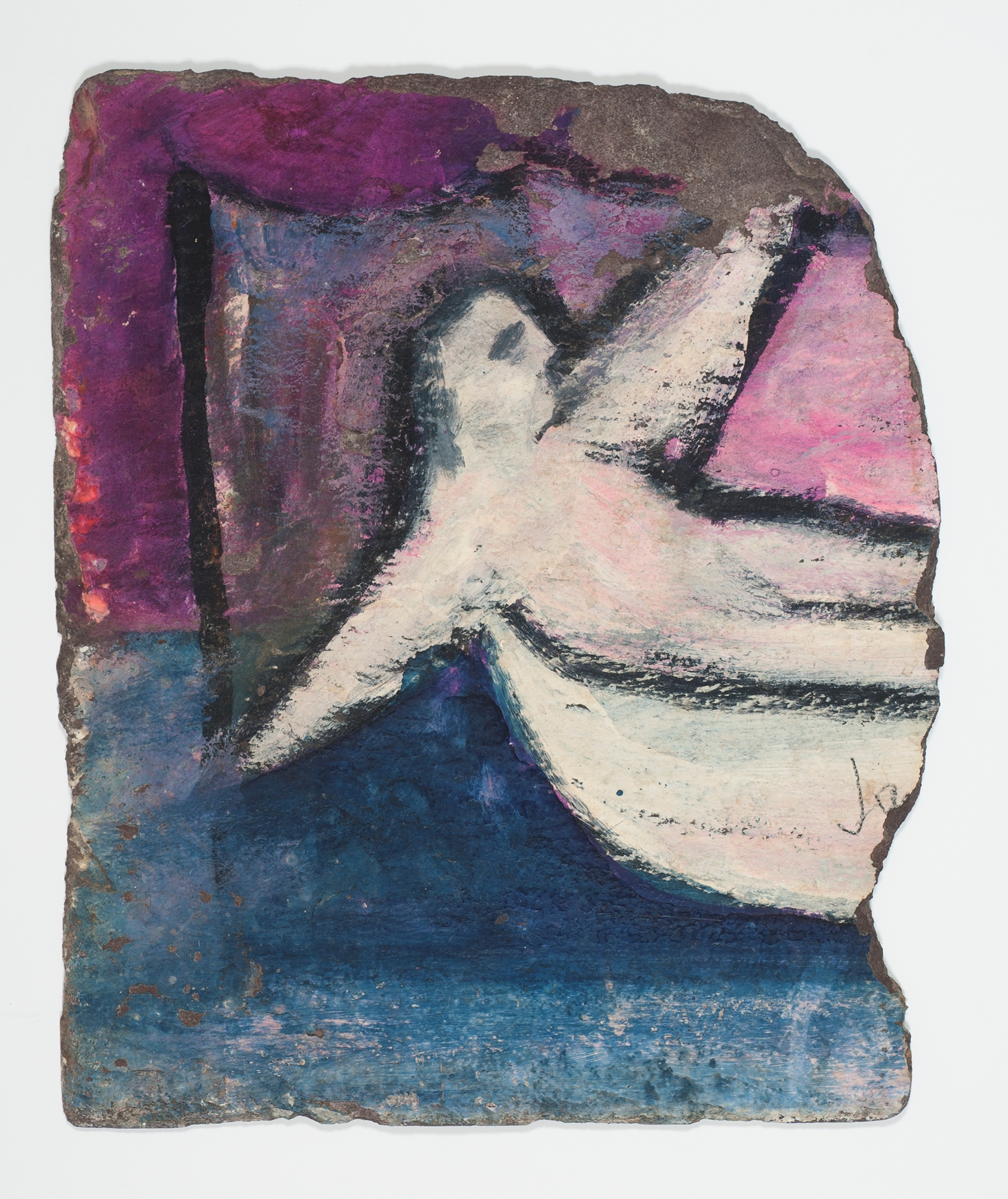 Sidney Nolan  Untitled (Figure in Boat)  January1942 enamel on slate 22 x 26.2 cm (irreg.) Heide Museum of Modern Art, Melbourne Bequest of Barrett Reid 2000 © Sidney Nolan Trust