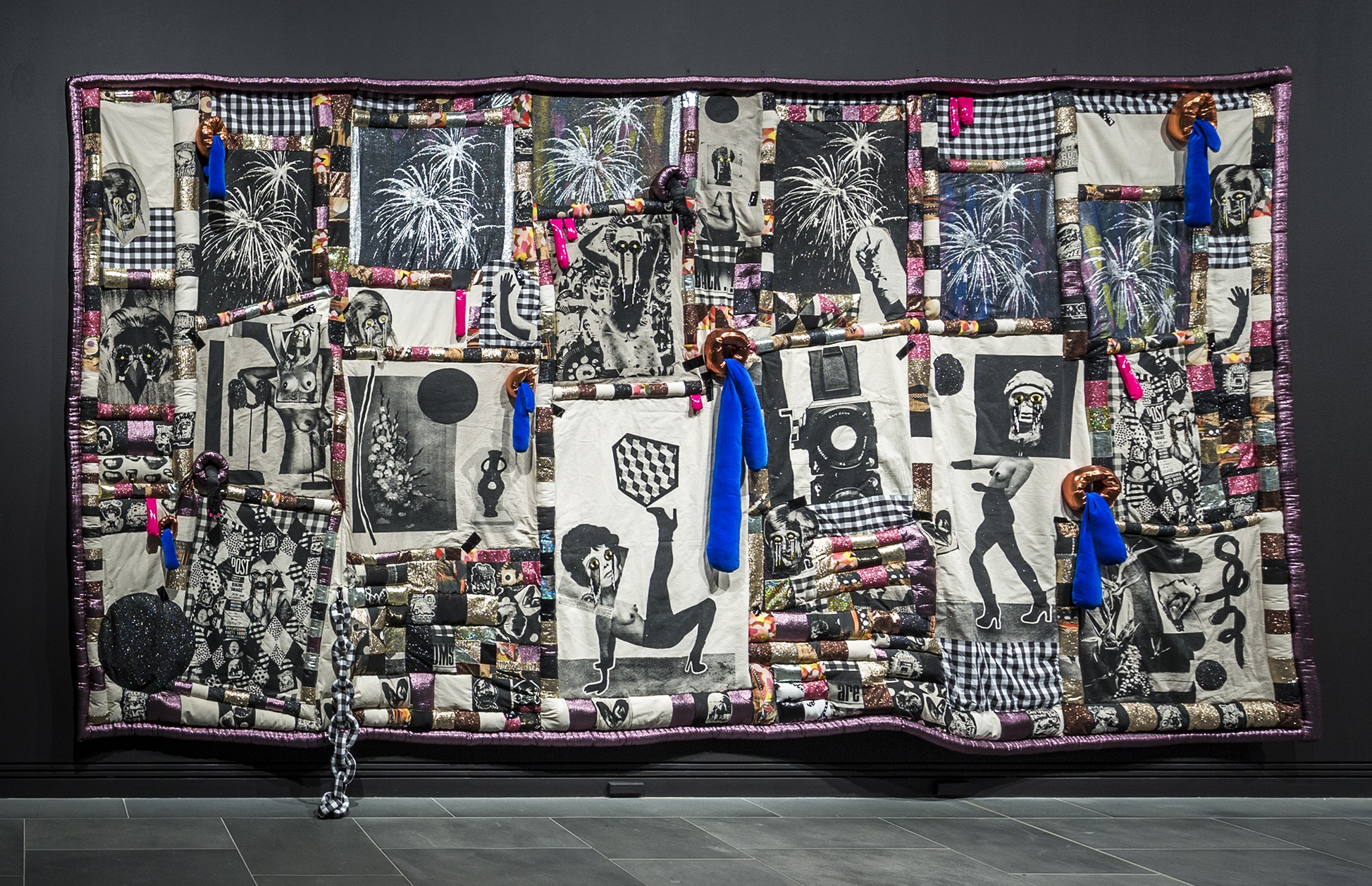 Sarah contos presents: The Long Kiss Goodbye, 2016  screen-print on linen, canvas, digital printed fabrics and various found fabrics, PVC, poly-fil, glass, ceramic and plastic beads, thread, artists' gloves 610 × 330 × 25cm Photo credit: Saul Steed