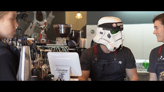 What are we up to now?? @salvationcoffeecompany @jayy_mo1 . . . . . #video #videography #stormtrooper #starwars #videographer #coffee #coffeeshop #cinematic #cinematography #burlingtonnc #burlingtondowntown #shortfilm #short