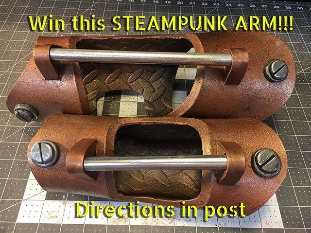 🔥ENTER NOW!🔥 I'm giving away this #steampunk arm accessory that I created for my recent @skillshare class. Perfect for your next cosplay! . . . . . . . What do you have to do to enter? 1. Like this post 2. Follow @evilpenguinlabs and @titanartillery 3. Tag two friends in comments who you think would be interested in this (in either @evilpenguinlabs and/or @titanartillery post) . . That's it! Contest will end Wednesday May 29th at 12pm CST. Winner will be chosen at random from valid entries and announced as soon as confirmed. Valid only to residents in USA (due to shipping cost).