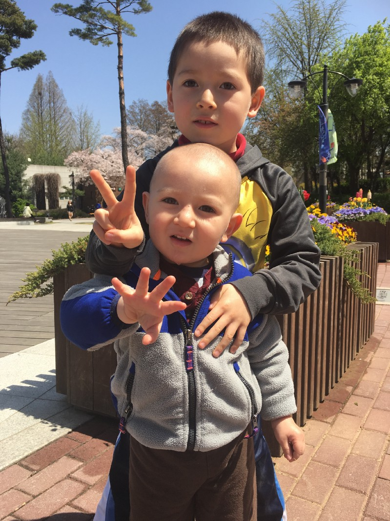 My five-year-old, Aidan, and my two-year-old, Evan. Picture taken in Seoul, South Korea, April 2017