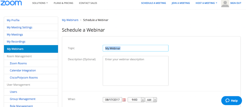 "Zoom Image 2. Select ""My Webinars"" to schedule a Webinar"