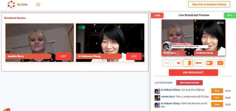 BeLive Image 3. On the right side of the screen, you can see people's Facebook comments live natively on BeLive.