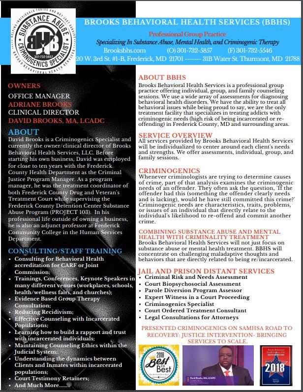 BBHS Criminogenics Overview Brochure