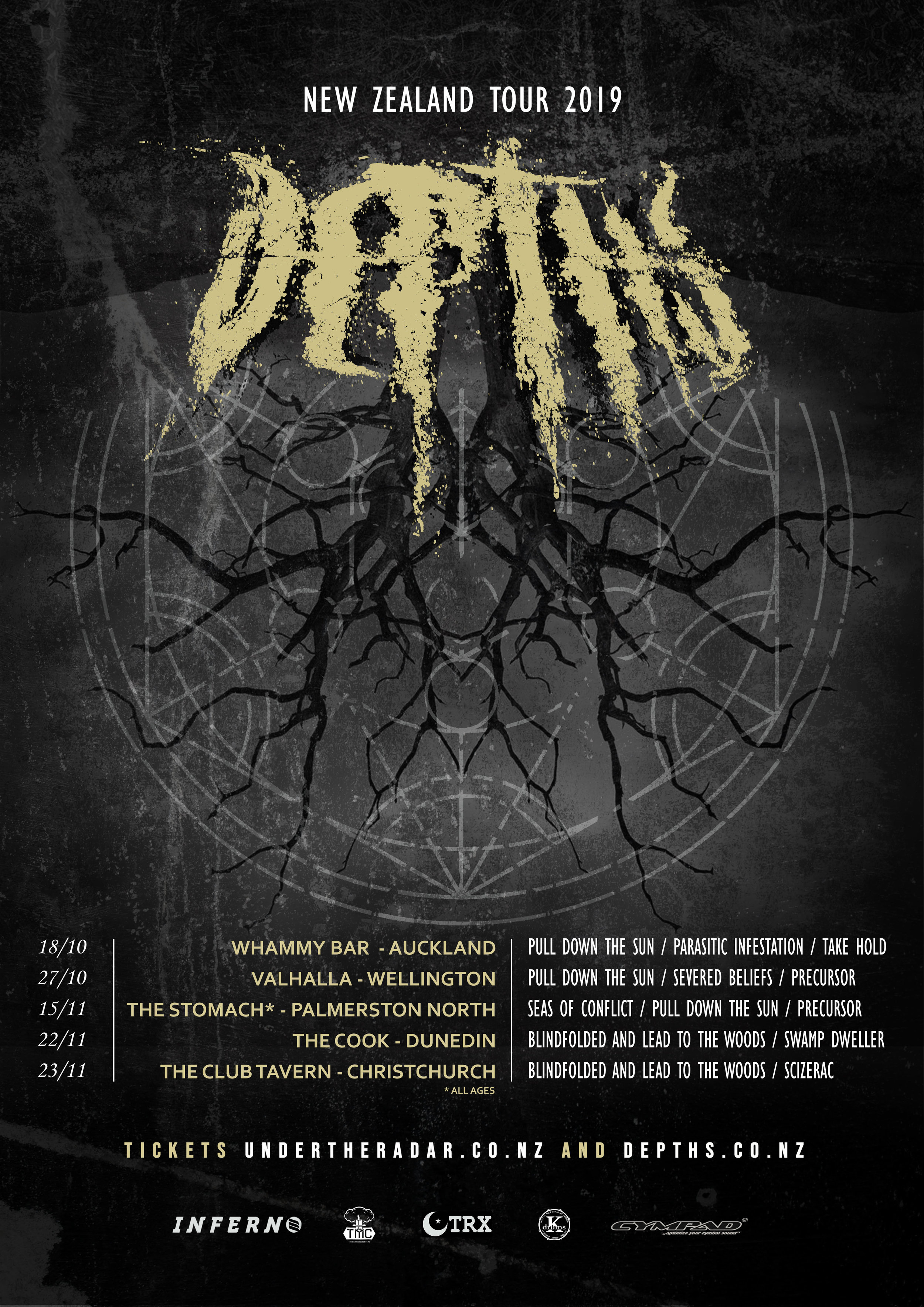 NZ TOUR 2019 - Hitting the road for a small run of shows over the country this Oct/Nov. These will be Depths' only NZ shows this year so don't miss out!