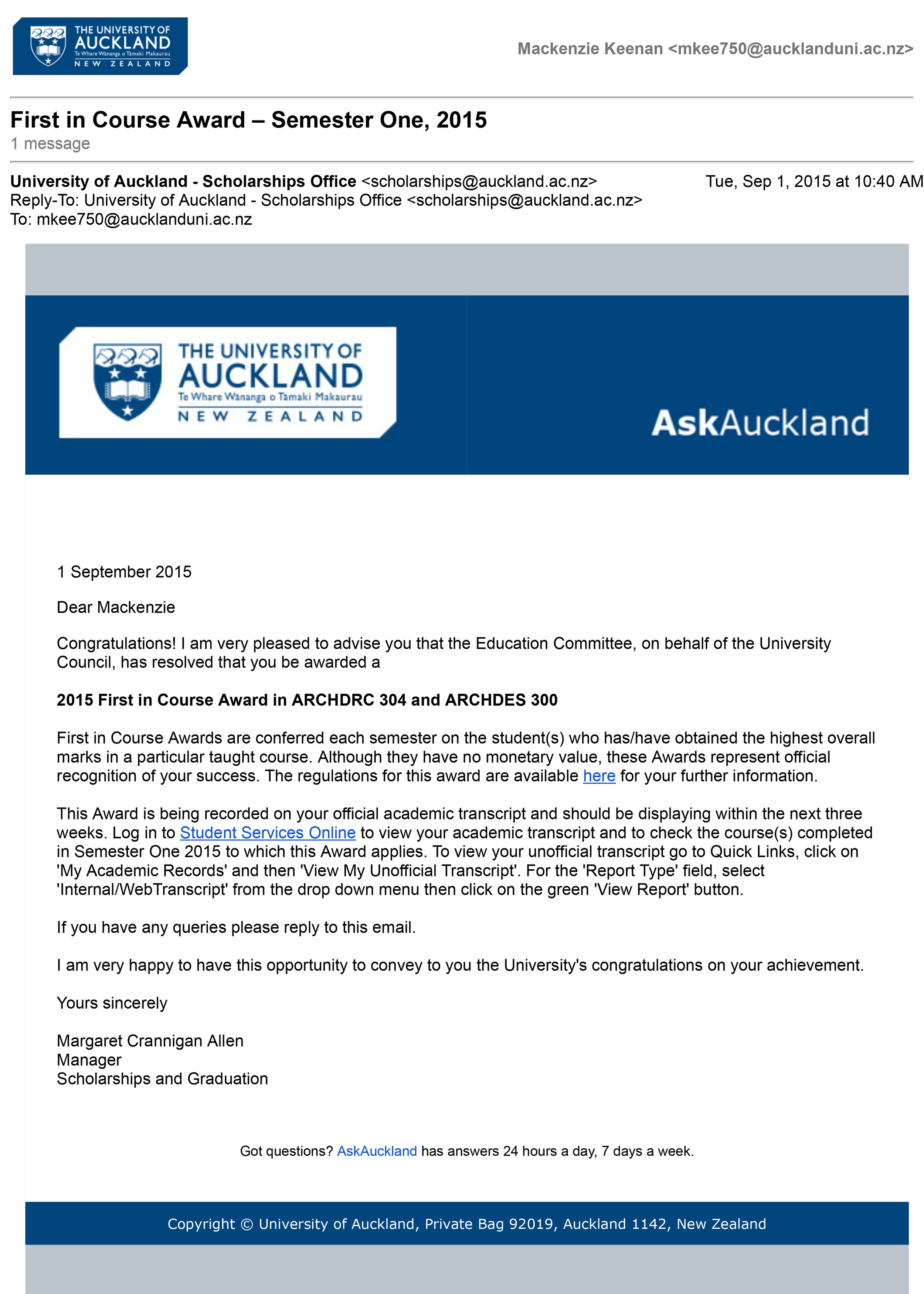 The University of Auckland Mail - First in Course Award – Semester One, 2015-1.jpg