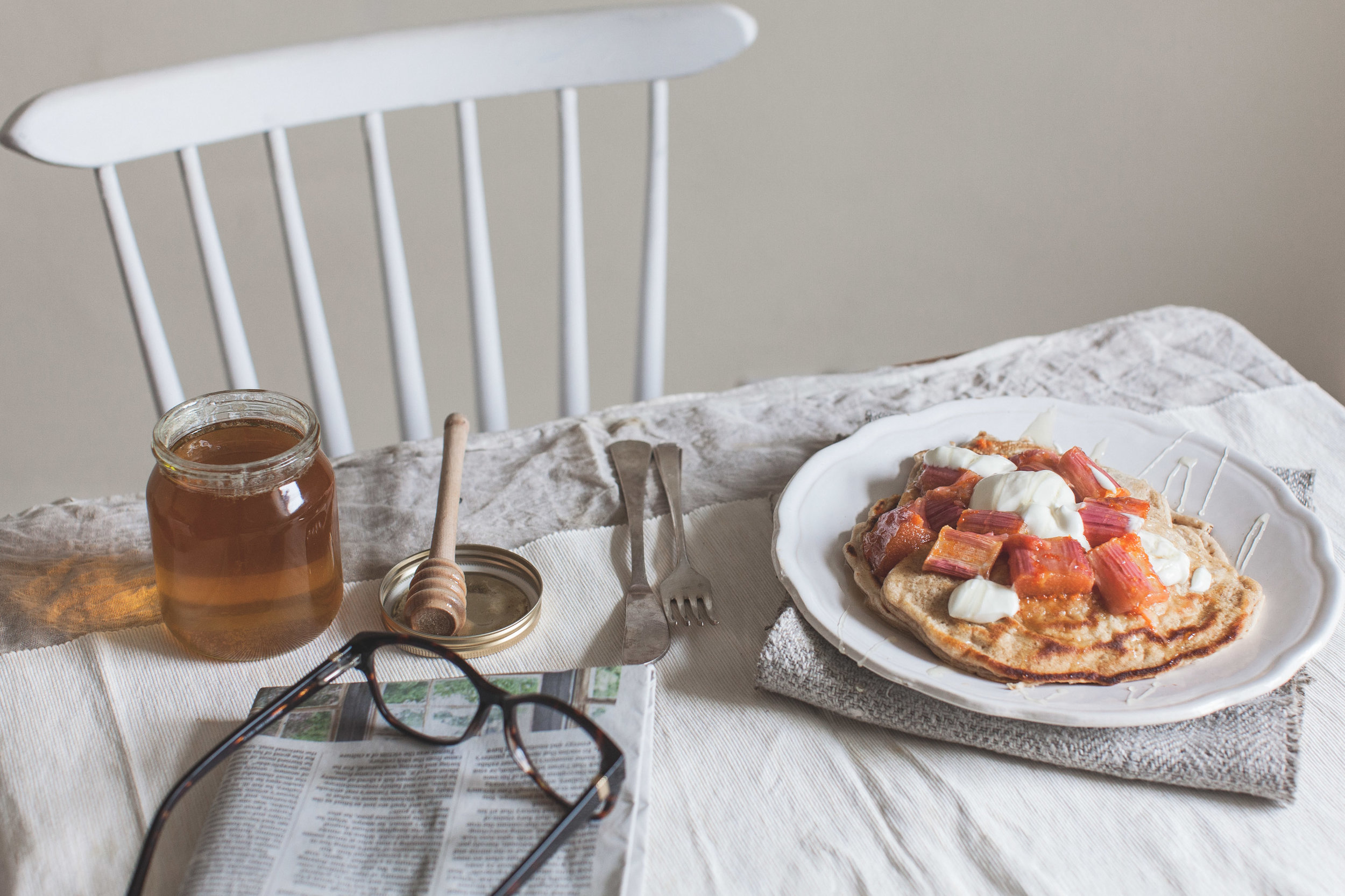 American pancakes with baked rhubarb. Retreat // Food and lifestyle blog based in Sussex. Photography by Emma Gutteridge.